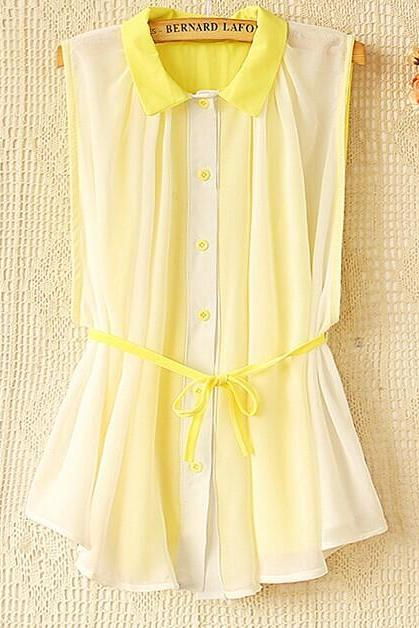 Spell Color Sleeveless Chiffon Shirt