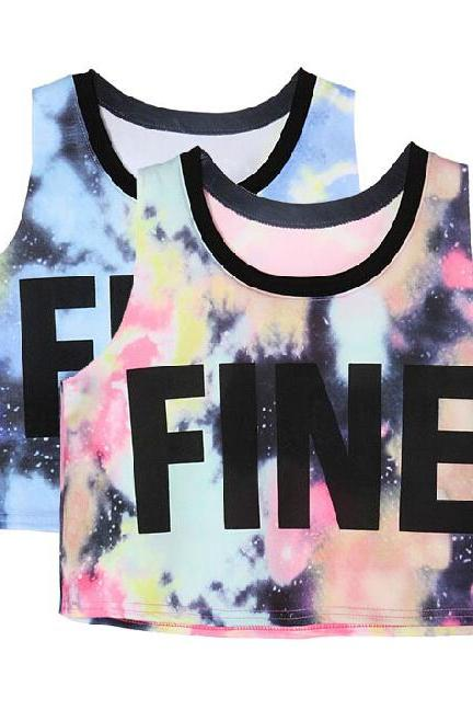 Star FINE Letters Printed Vest