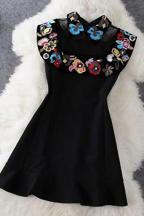 Stitching Embroidered Dress