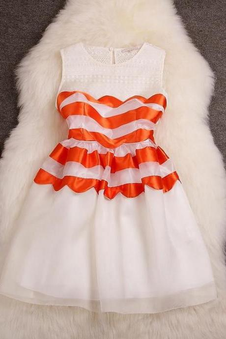 Stitching Striped Organza Dress