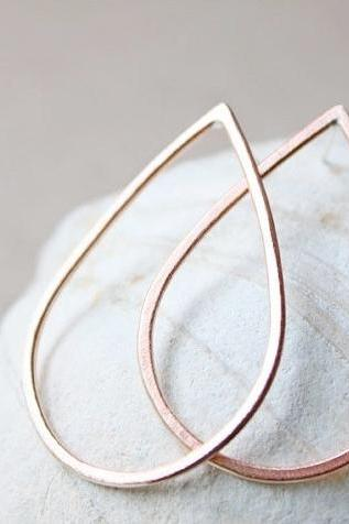 copper teardrop earrings, large hoop, metalwork jewelry everyday sterling silver posts studs, rust modern minimal jewelry