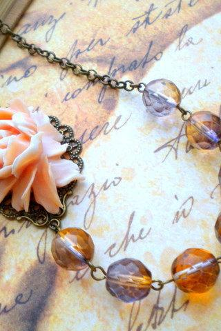 Bib Necklace - Peach Vintage Rose Flower Necklace