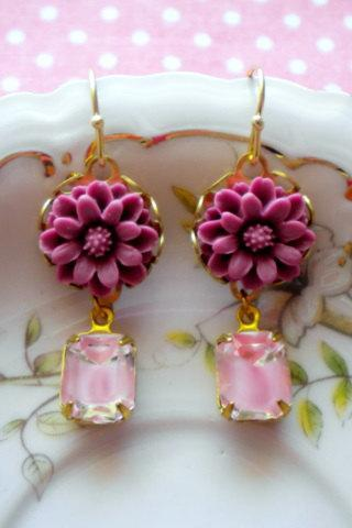 Flower Cabochon Earrings - Pink Fuschia Flower