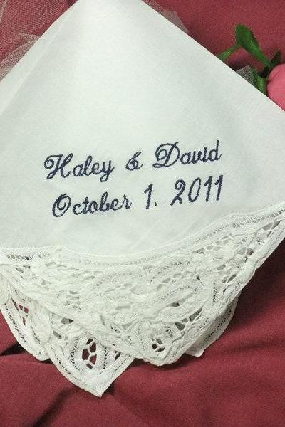 Wedding Hanky Personalized with Belgian Lace