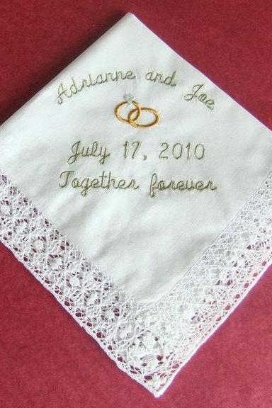 Personalized Wedding Gift Hankie Handkerchief Embroidered Cotton 8152