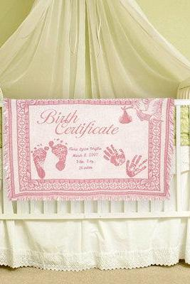 Personalized Baby Blanket Birth Certificate Embroidered