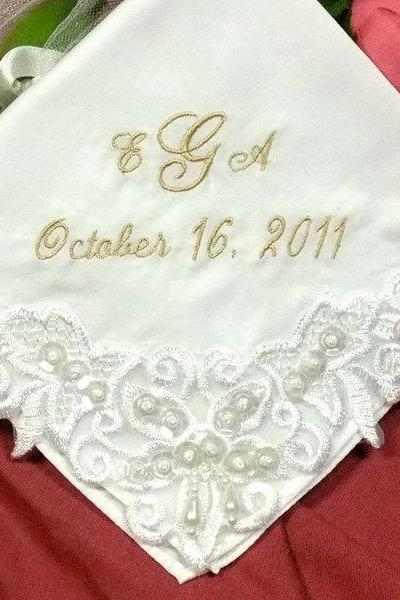Embroidered Venice Lace Wedding Handkerchief with pearls White Cotton