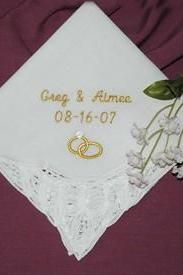 Personalized Wedding Handkerchief Belgian Bridal Lace Embroidered