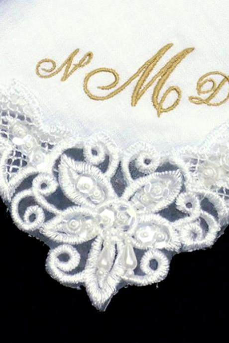 Mother of the Bride Wedding Hankie Embroidered Personalized in Linen
