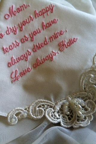 Ivory Wedding Gift Handkerchief Hankerchief for Bride, Mother of Groom & Bride H9501i