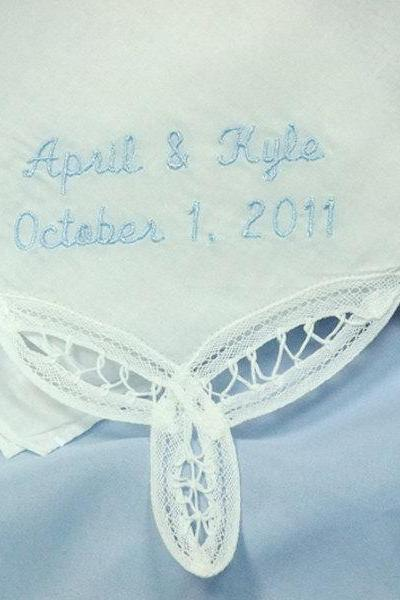 Monogrammed Something Blue Handkerchief for Bride