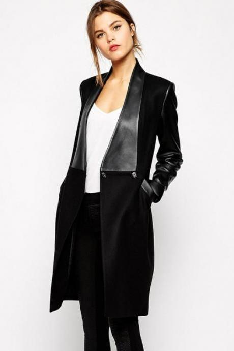 Slim Black Coat Black Overcoat for Wome-Leather Wool Jacket Long Overcoat