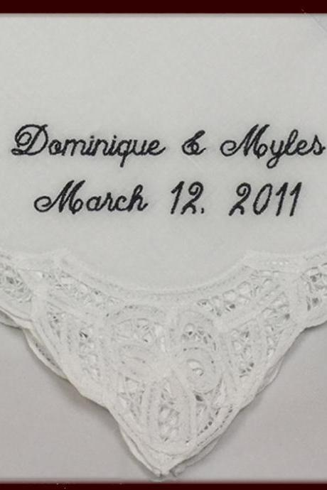 Belgian Lace Wedding Handkerchief for Bride