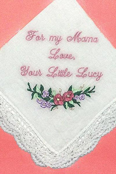 Wedding Handkerchief -Vintage Inspired- Personalized Embroidered Style 401
