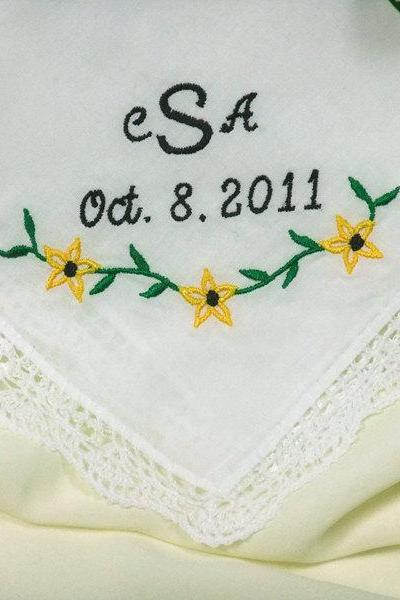 Mother of the Groom Wedding Handkerchief Monogrammed Hankie Daisy No. 401