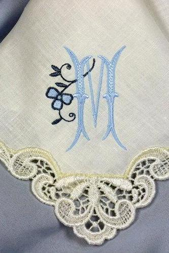 Monogrammed Handkerchief created in Ivory Linen with Venice Lace Motif 9201L