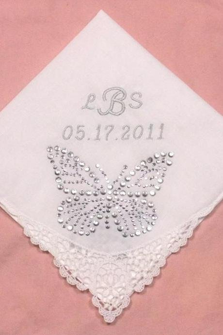 Lace Embroidered Wedding Hankie with Butterfly Rhinestones