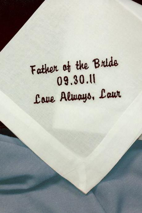 Personalized Wedding Handkerchiefs for your Dad HM400 Cotton