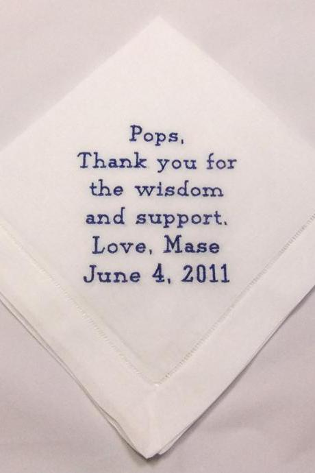 Father of the Bride Wedding Handkerchief Embroidered Personalized Product No. HM403