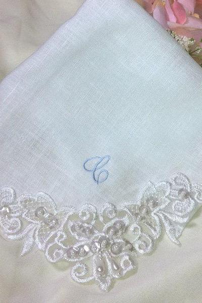Personalized Linen Wedding Handkerchief Couture Venice Lace White