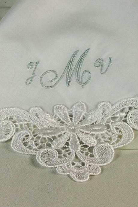 Monogram Wedding Hankerchief Personalized Embroidered Cotton Bridal 9301C