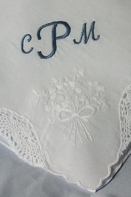 Monogrammed Maid of Honor Wedding Hanky Embroidered Personalized