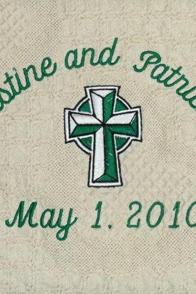 Emerald Wedding Blanket Throw Personalized Embroidered