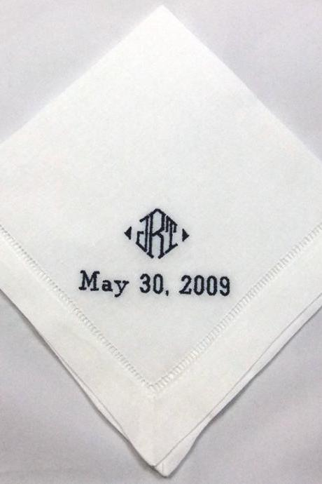 Mans Wedding Handkerchief Personalized- Wedding Hanky from Bride to Father HML403