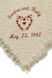 Eco Friendly Wedding Gift - Natural Cotton Throw Blanket Personalized Embroidered