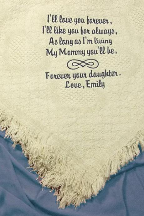 Personalized Mother's Day Gift for your Mom Natural Cotton Throw