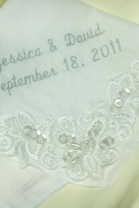 Couture Embroidered Wedding Handkerchief Venice Lace 9201C