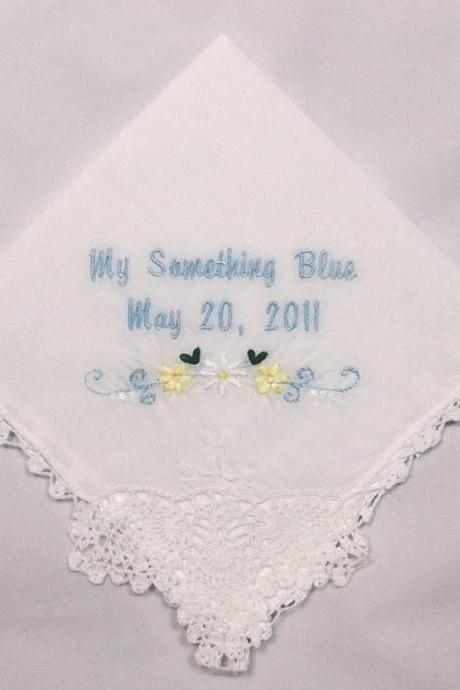 Personalized Wedding Handkerchief Hankie with Daisy Swag Product No. 404