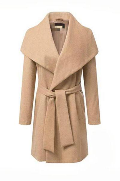 Solid Loose Belt Woolen Coats