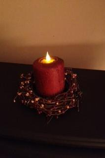 Candle, 4 Inch Pillar, Cinnamon Apple Scented (LED)