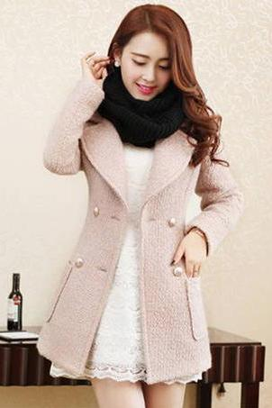 Simply Elegant Double Breasted Light Pink Winter Coat