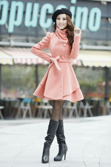 Beautiful Pink Winter Coat with Bow Belt
