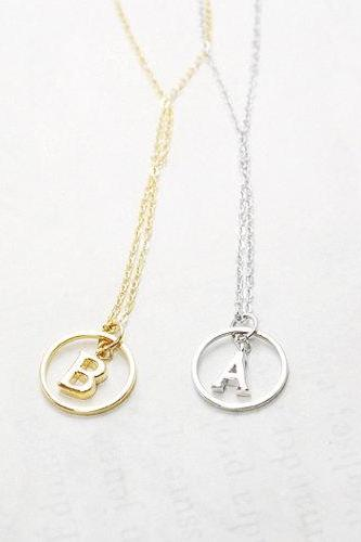 Karma Initial Necklace, Initial Round Pendant Necklace, Personalized necklace, Bridesmaid Gift Necklace