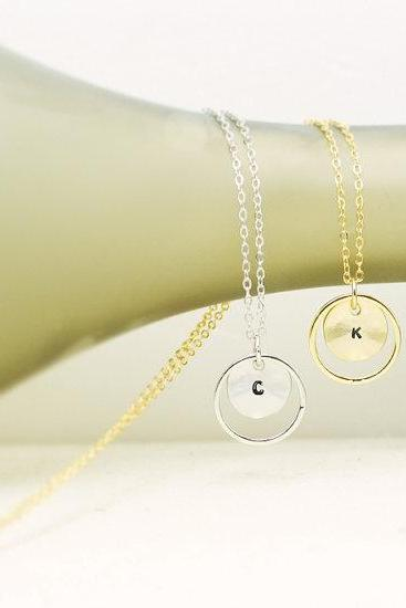 Karma Coin Initial Necklace, Initial Round Pendant Necklace, Personalized necklace, Bridesmaid Gift Necklace, Hand Stamped Initial Necklace