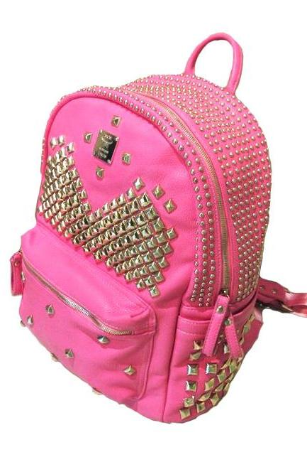 Cool Punk Style Rivet Pure Backpack - Pink