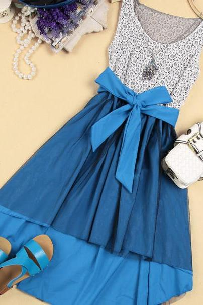 Elegant High-Low Hemline Bowknot Sleeveless Lace Spliced Dress - Blue