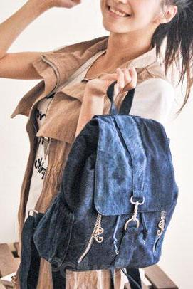 Fashion Cowboy Style Simple Zip Denim Backpack - Dark Blue