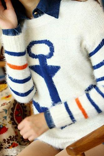 Navy Style Anchor Strip Print Soft Sweater - Blue
