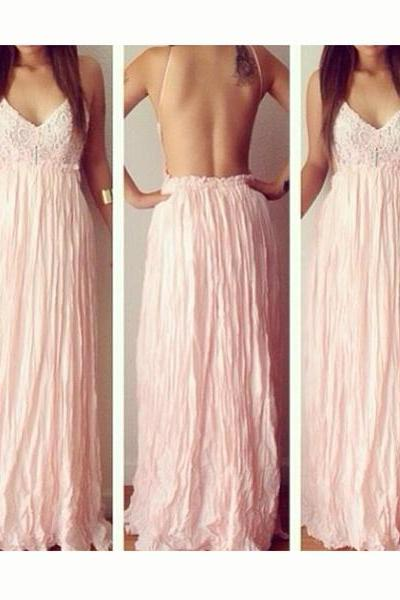 Lace V-neck Backless Long Dress