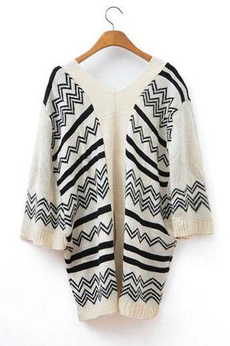 Retro Loose Fitting Wavy Strip Pattern Cardigan - Black