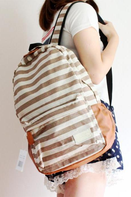 Retro Navy Style Strip Print Backpack - Light Brown