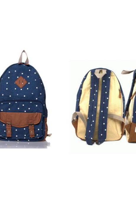 Sweet Cute White Tiny Dot Canvas Backpack - Dark Blue