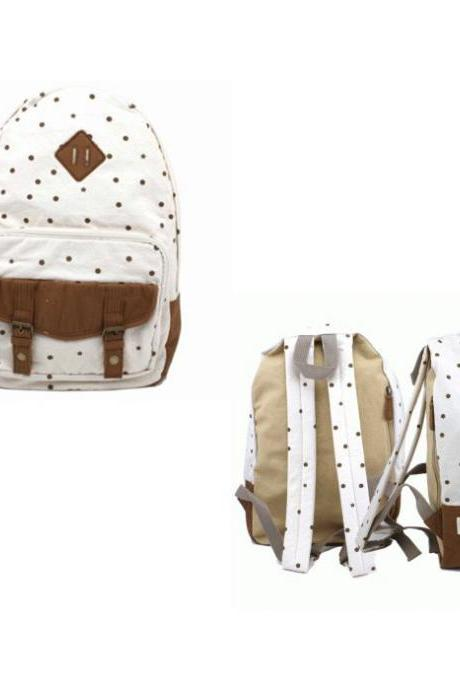 Sweet Cute White Tiny Dot Canvas Backpack - White