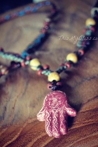 Hamsa necklace - hand of protection macrame necklace