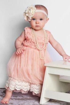 Pink Princess Dress for Flower Girls Vintage Style Pink Dress Rosette