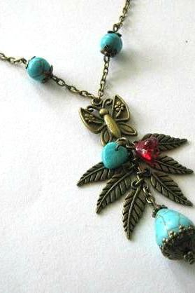 Teardrop howlite turquoise necklace butterfly jewelry leaves antiqued bronze